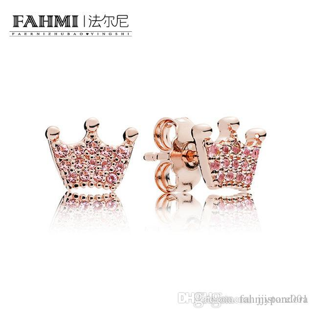YHAMNI 100% 925 Sterling Silver Authentic New Magia Crown Charme Gem Brincos Rose Gold Original Mulheres Jewelry Factory Direct