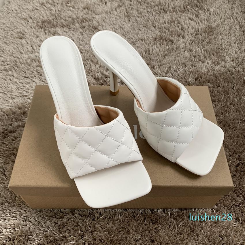 9cm Womens verão Salto Alto Chinelo Mulher couro branco Praça Peep Toe Sandals Senhoras Sandal Shoe Bombas Chaussure L28