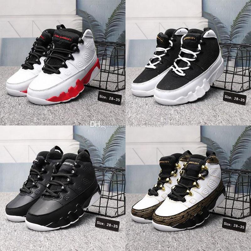 Barato de las mujeres Jumpman 9 zapatos de baloncesto 9s vuelos Negro Rojo jóvenes Bred los niños de las muchachas de las zapatillas de deporte J9 J9 en venta