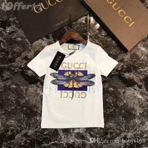 2019 جديد مصمم العلامة التجارية 2-9 سنة طفل الفتيان الفتيات القمصان الصيف القميص بلايز الأطفال تيز الاطفال القمصان الملابس OVEDRE