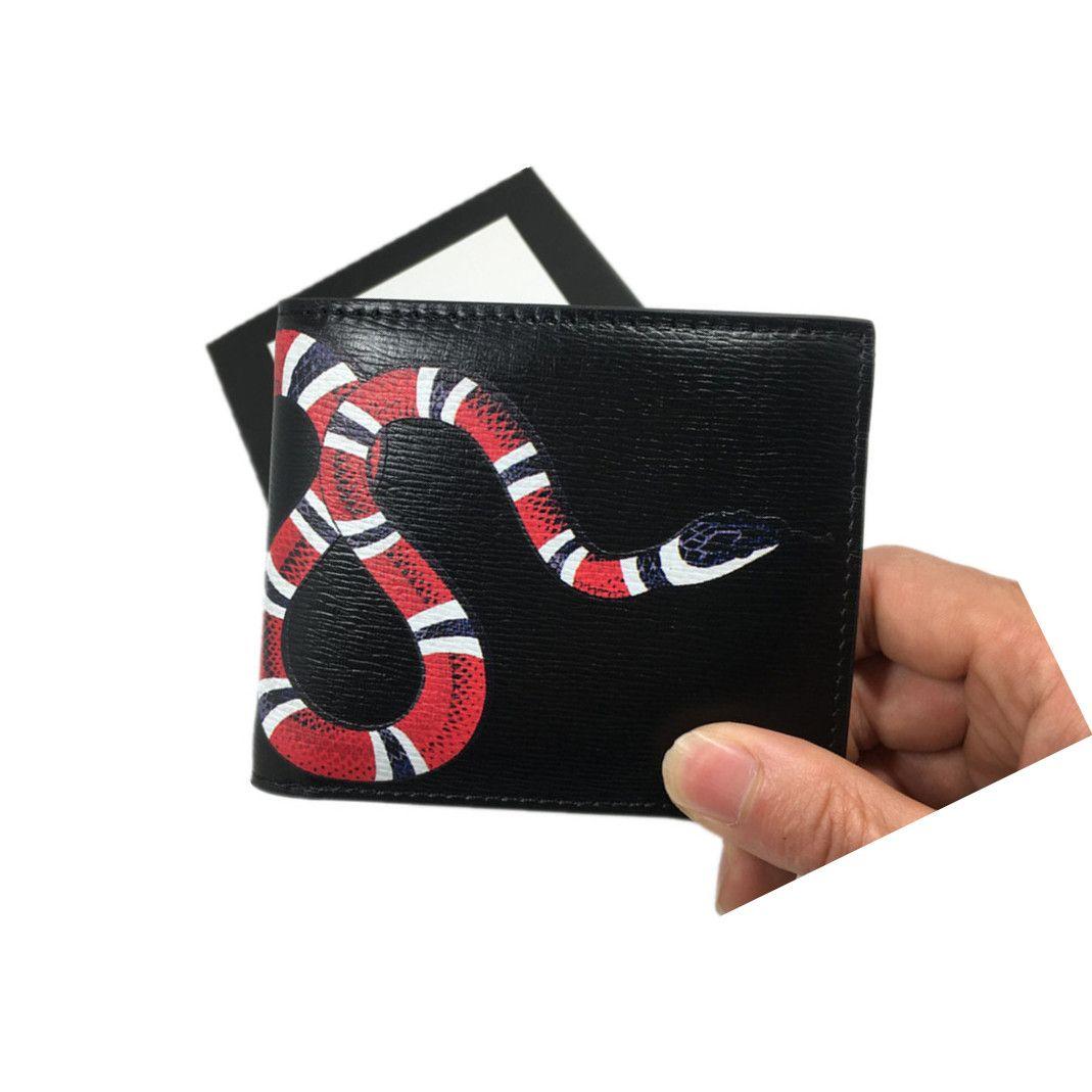 Couro preto carteira curta para homens Couro Carteira de cartão de crédito moda gráfico snake witness carteira monstro cartão de 451268 Carteiras