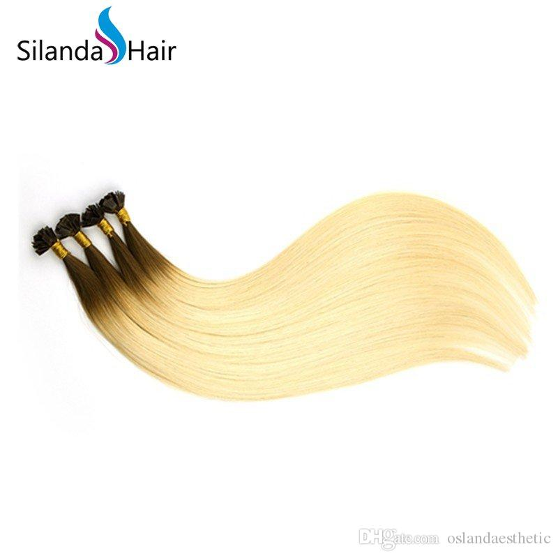 Ombre #R8/60 Straight Remy Hair Fusion Flat Tip Rooted Hair Extensions 1g/s 24 Inch 100 strands/pack Free Shipping