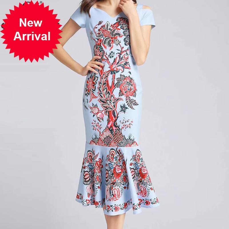 Designer de Moda Verão Mulheres vestido de manga curta padrão de impressão elegante Bodycon luxo Beading Vestido estilo sereia Midi