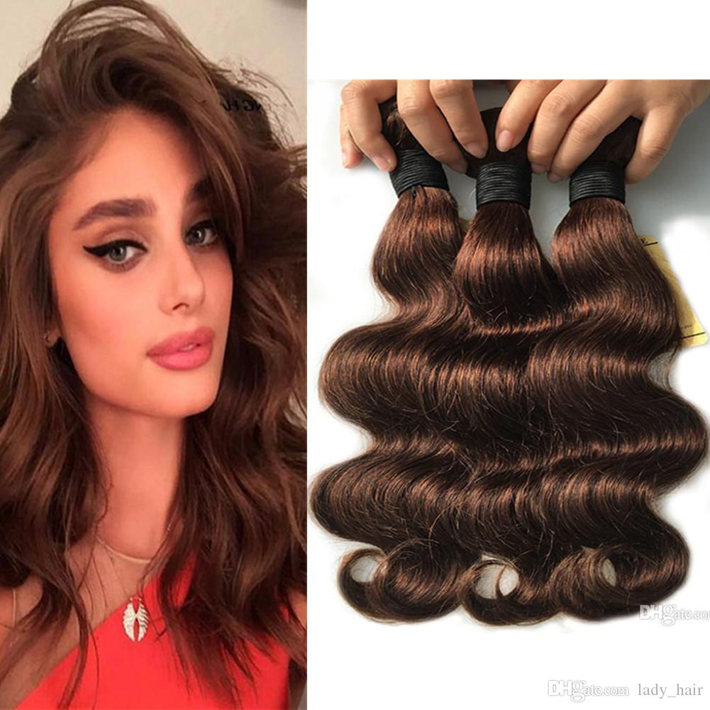 Natural Brown Human Hair Weave Body Wave #4 Dark Brown Mink Brazilian Human Hair Bundles 3Pcs Lot Chocolate Brown Body Wave Hair Wefts