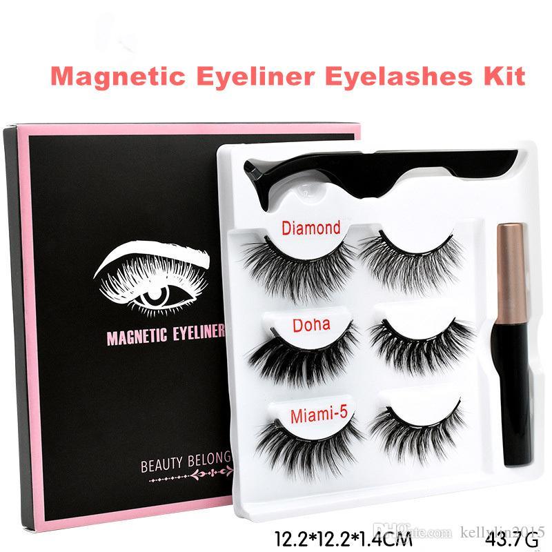 Magnetic Eyeliner Eyelashes Kit 3 pairs 3D Faux Mink Lashes Liquid Eye liner Clip Long Lasting Makeup Reusable False Eyelashes Set