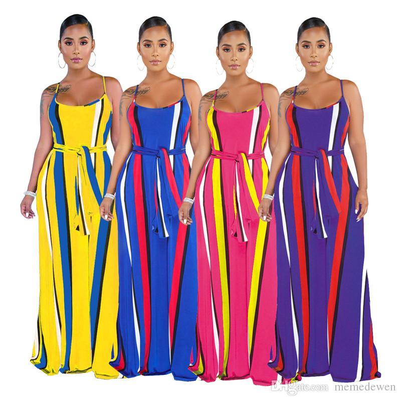 Spagetti Kayışı Yaz Artı Boyutu Elbise Kadın Dikey Çizgili Aç Geri Boho Elbiseler Rahat Kolsuz Kanat Gevşek Tatil Elbise N19.6-2003