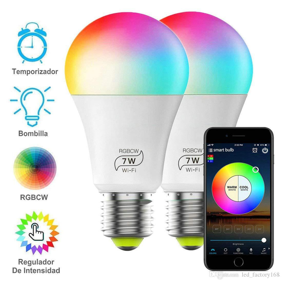 Smart LED Ampoule RGBCW Wi-Fi Inteligente lumière 7W 600lm multicolore Dimmable App contrôlée Disco Party change de couleur Ampoule 2700K-6500K