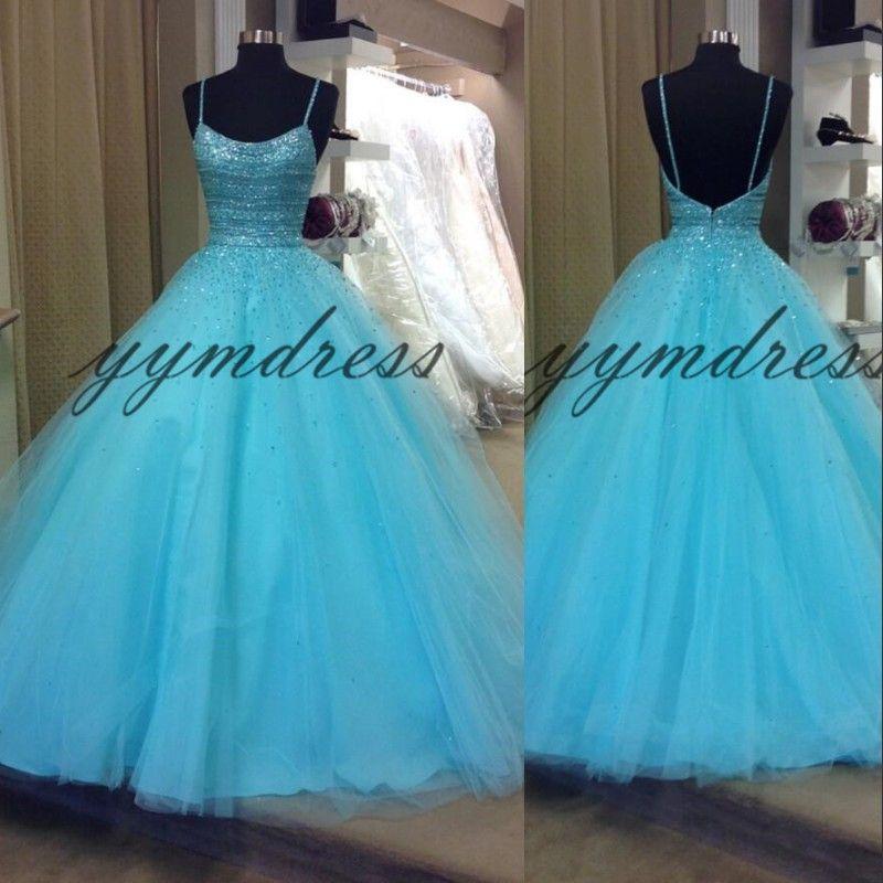 Luz céu azul vestidos de baile espaguete pescoço sem mangas Sexy Backless andar de comprimento de uma linha vestidos longos de festa Formal Vestidos de festa