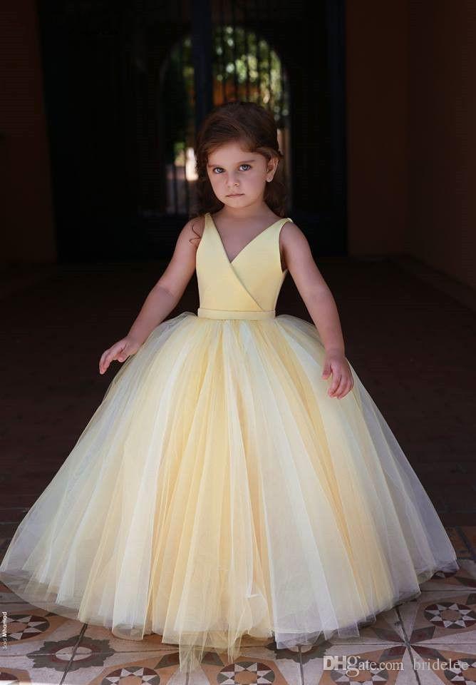 Прекрасный желтый цветок девочки платья для венчания 2020 Длина V шеи Складки пола мантии шарика Скромные девушки Pageant партии мантий Дешевые