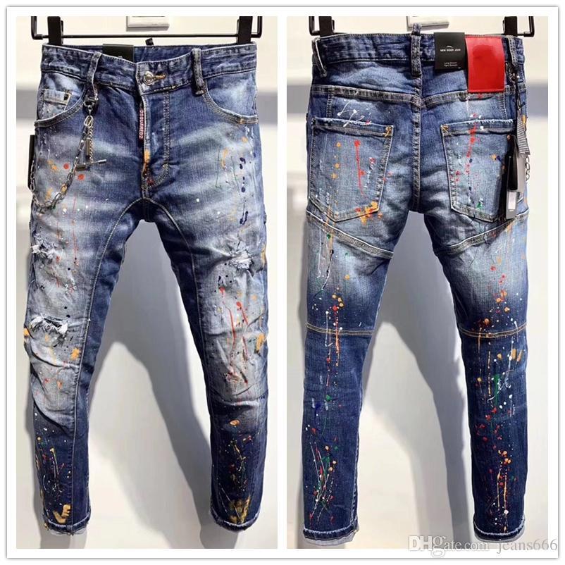 vente chaude nouveaux hommes Distressed Ripped Biker Jeans Slim Fit Motard Denim pour les hommes Fashion Designer Hip Hop Hommes Jeans de bonne qualité