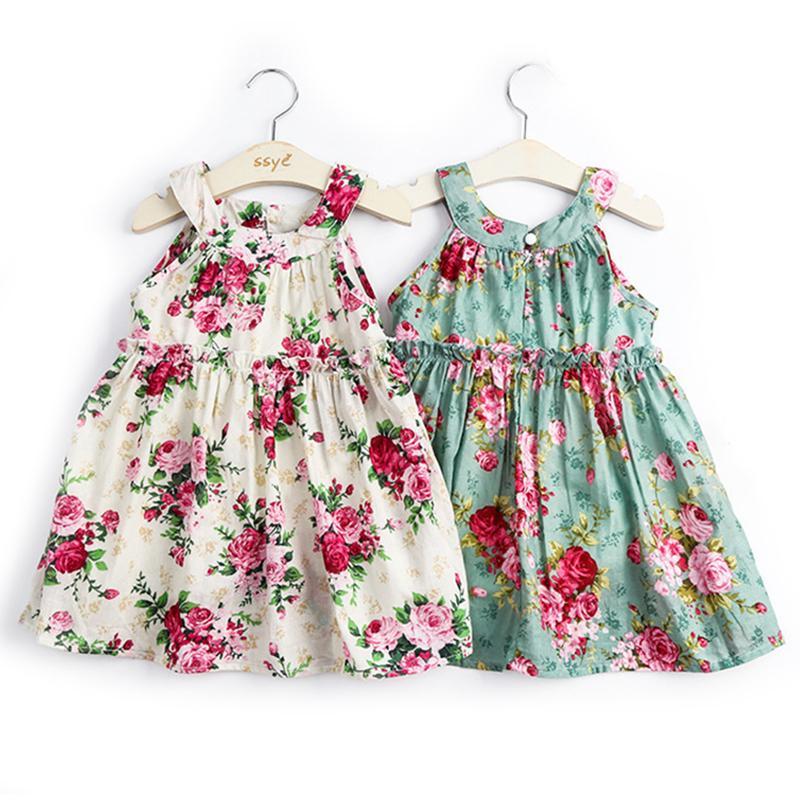 Bebek Kız Elbise Pamuk Yaz Plaj Stil Çiçek Baskı Parti kayış Elbiseler Kızlar Için Vintage Toddler Kız Giyim 2-6Yrs