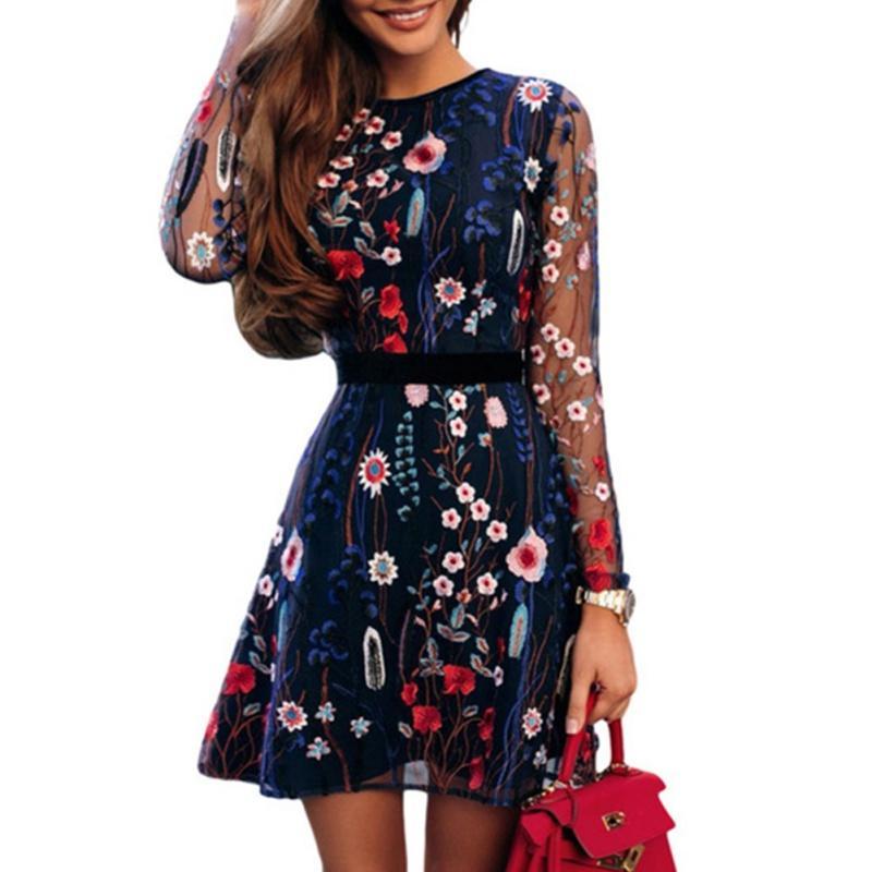 Collar New Mulheres Sexy Rodada Floral Vestido bordado cintura alta transparente de malha de verão Bohemian Vestido Mini 2019
