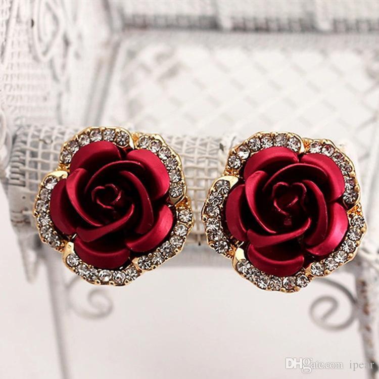 11 Renkler Romantik Kırmızı Gül Çiçek saplama Küpe Bayan Vintage Şık Takı Elmas Küpe Sevgililer Günü Hediyeleri