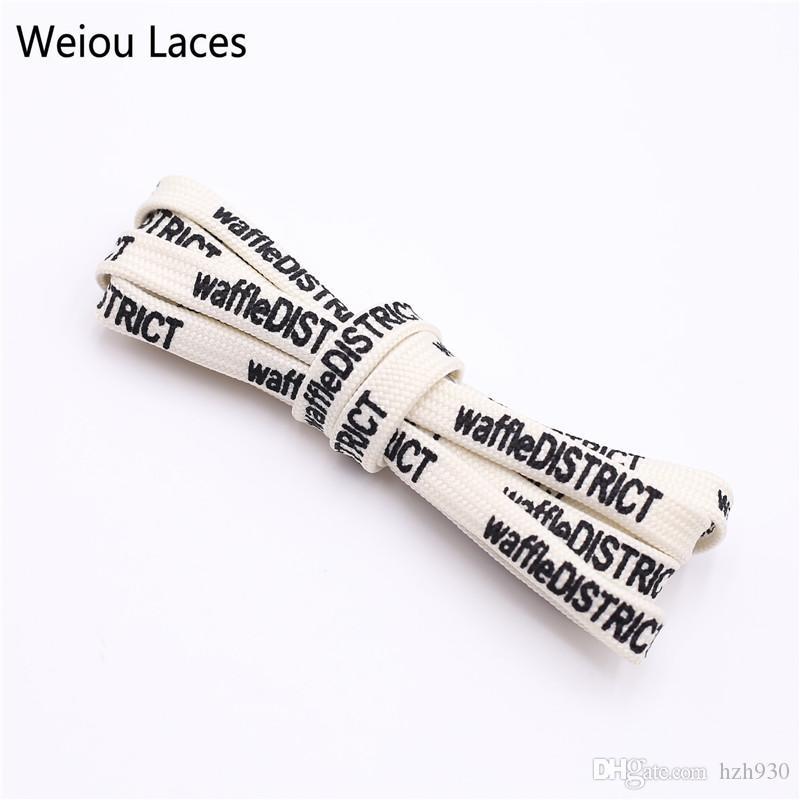 Weiou Brand New 7mm Double-sided Printing Shoelace Extra Long Shoestring Sports Clothing Drawstring Beige Flat Laces