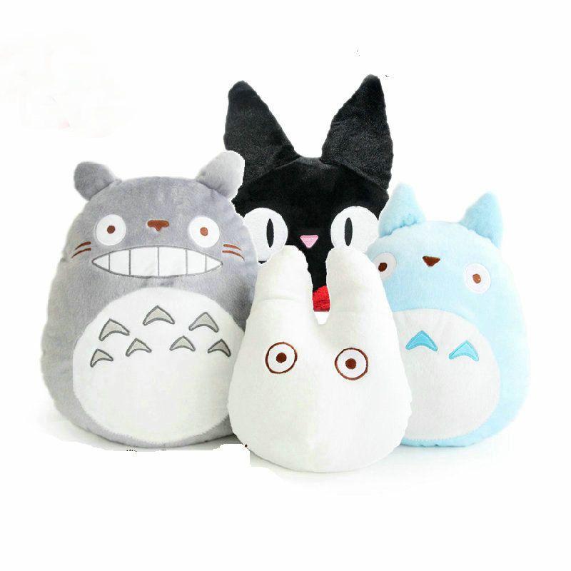 Hcdtoy Kawaii Japan Anime Cute Totoro Plush Toy Soft Stuffed Plushies Pillow Cushion Cartoon White Doll Black Cat Kids Toys