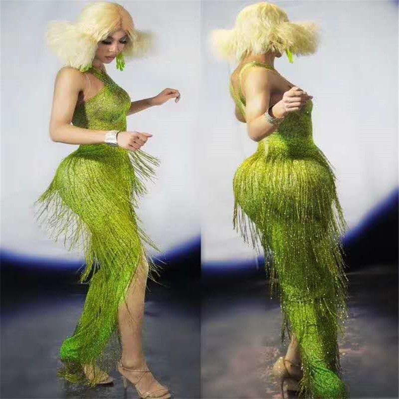 X99 Femme houppe vert parti porte les femmes habillent justaucorps ehinestone salopette tenues serrées défilé se vêtir robe de pole dance discothèque usure du parti