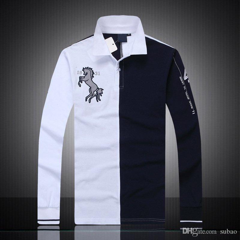 estilo casual camisas de polo de la venta caliente de alta calidad de diseño para hombre de la nueva marca de manga larga de los hombres de la manera de Italia 055 PS algodón PSY Negocios Club de Yates
