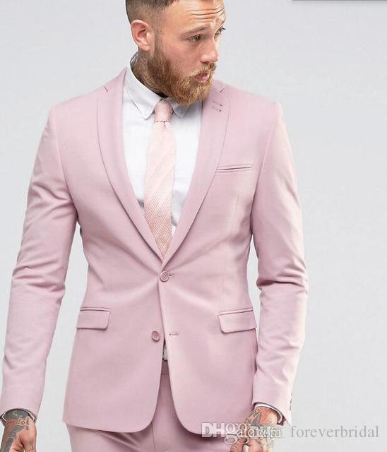 New Arrival Light Pink Men Suits Slim Fitted Party Dress Groomsmen Tuxedos For Beach Wedding Young Men Two Pieces (Jacket+Pant)