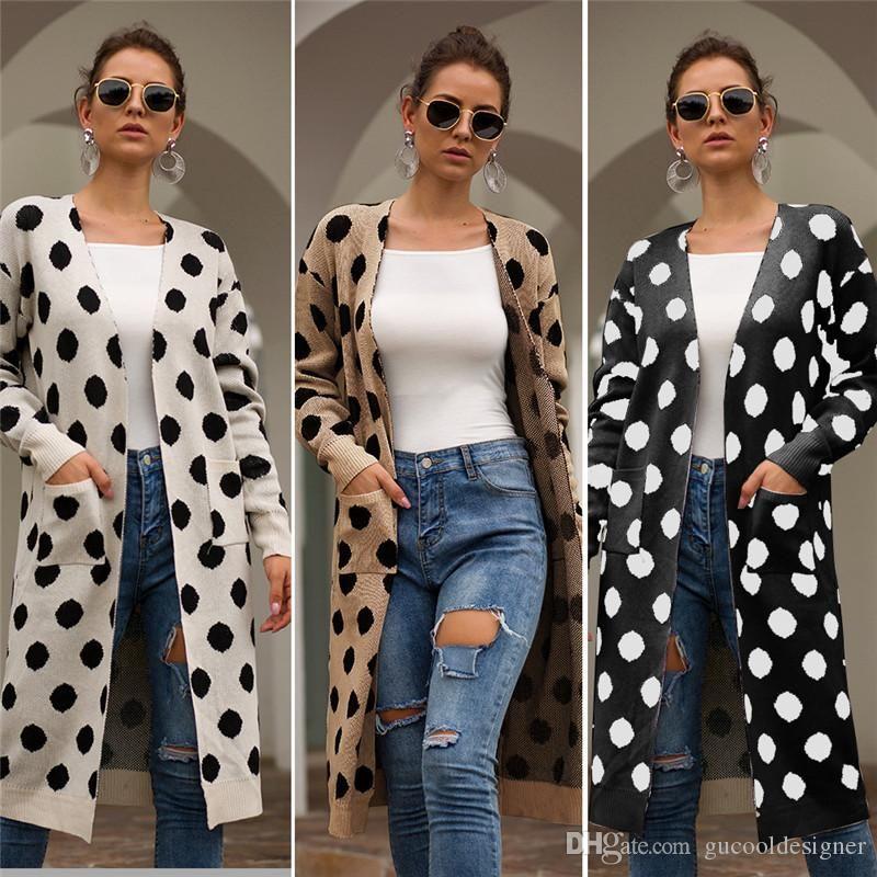 Frauen Designer-Tupfen-Jacken Frühling und Herbst Designer Female mit V-Ausschnitt Mantel-beiläufige lange Hülsen-Damen-Kleidung mit Tasche