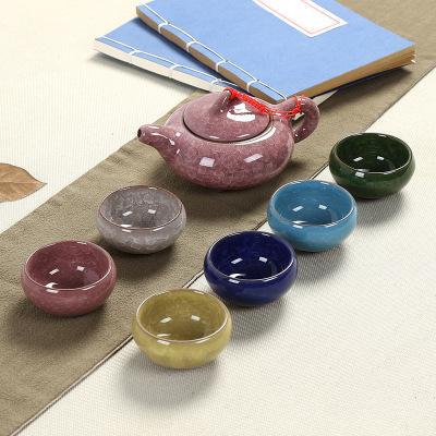2019 7 pieces/set Kung fu tea set Ceramic Tea cup chinese travel set Coffee cups tea 7 colors