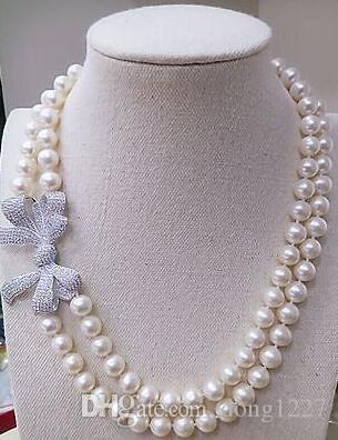 """Classic double strands 8-9mm South Sea white pearl necklace 18-19 """""""