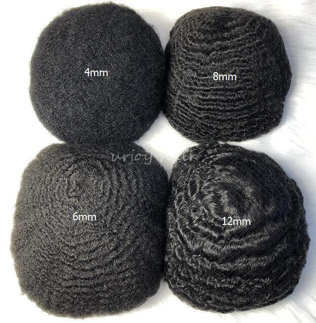 Uomini parrucche parrucchieri 10mm Wave Capelli TOUPEE Full Swiss Pizzo TOUPEE Nero 1B indiano Remy Ricambio per capelli umani per uomini neri Spedizione gratuita