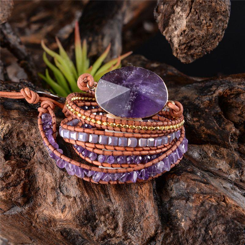 Exquisit Graduated Handmade 2018 - 5x Leather Wrap Beaded Bracelet Boho Chic Jewelry Bracelet Valentine's Gift Drop Shipping SH190727