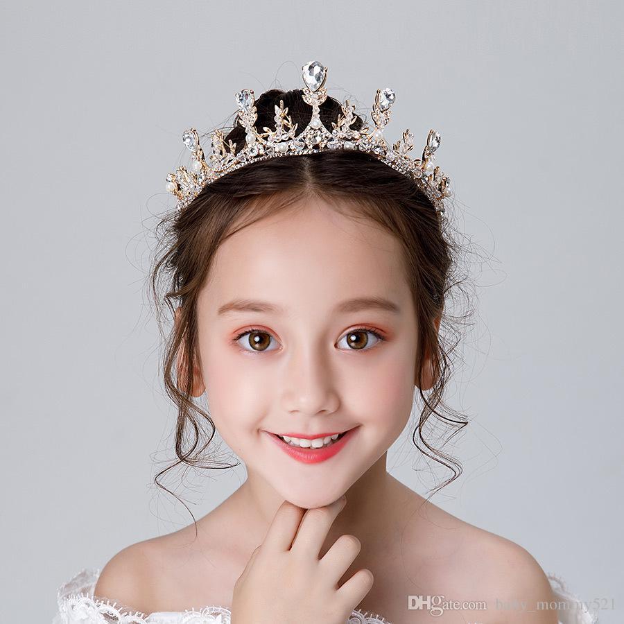 Dondurulmuş Prenses Kristal Taç Yapay elmas Tiaras Alaşım Gelin Headdress el yapımı Craft Saç Aksesuarları Çocuklar Çelenk Kadınlar Garland