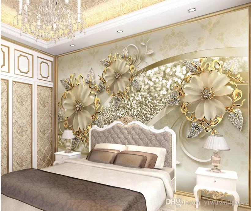 Fondo del modelo de la joyería de televisión europeo pintado pared estéreo 3D de oro moderno de sala de estar
