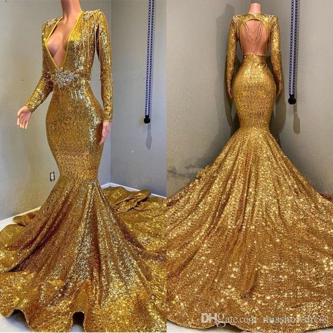 2020 Golden Long Sleeves Sequins Mermaid Prom Dresses Beaded Stones Backless Sweep Train Vestidos de Festa Party Evening Gowns BC0577