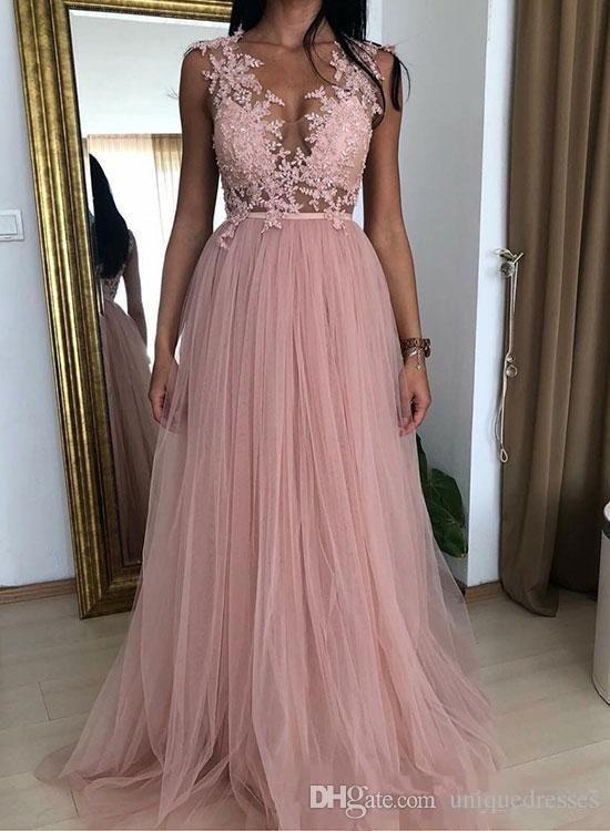 Compre Rosa De Baile Vestidos Largos 2019 V Cuello De Encaje Apliques Una Línea De Tul Vestidos De Noche Formal Del Barrido De Desgaste Del Tren
