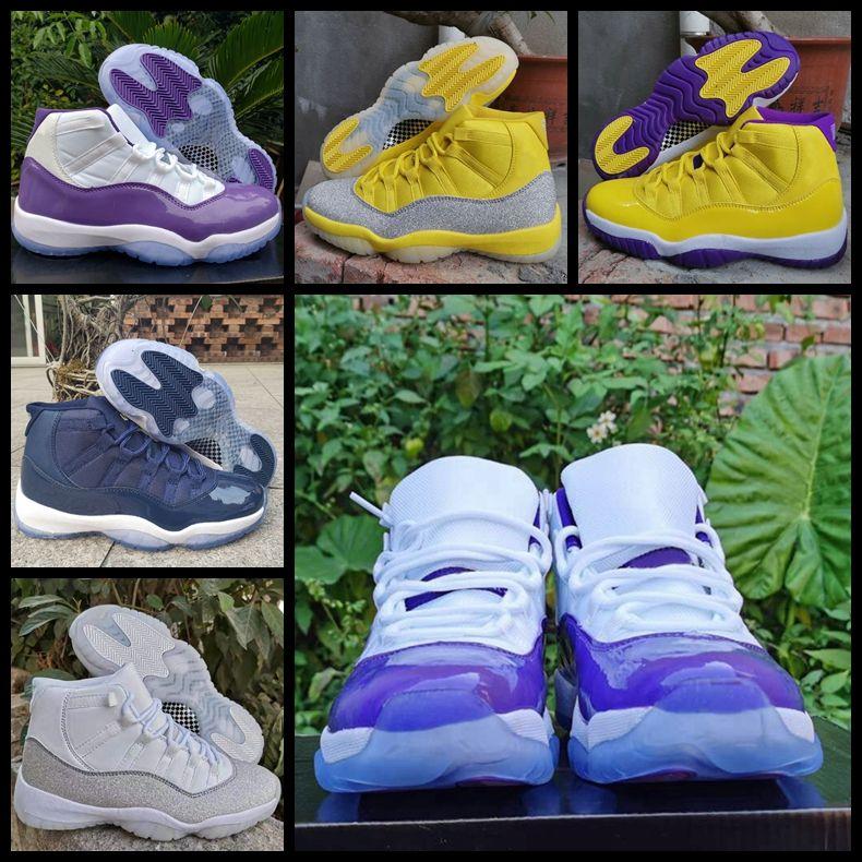Moda 11 Zapatos XI WMNS plata metálico 11s amarillas de baloncesto del Mens negro púrpura entrenadores deportivos zapatillas de deporte de Jumpman des Chaussures zapatos fuera