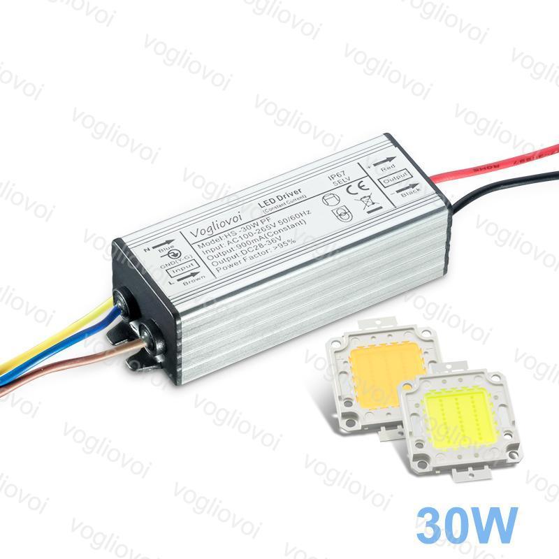 Driver de LED 30W pleine puissance AC110V AC220V étanche IP65 en aluminium argenté avec blanc chaud blanc 35mil LED COB Chip 3300LM 10PCS / LOT Epacket