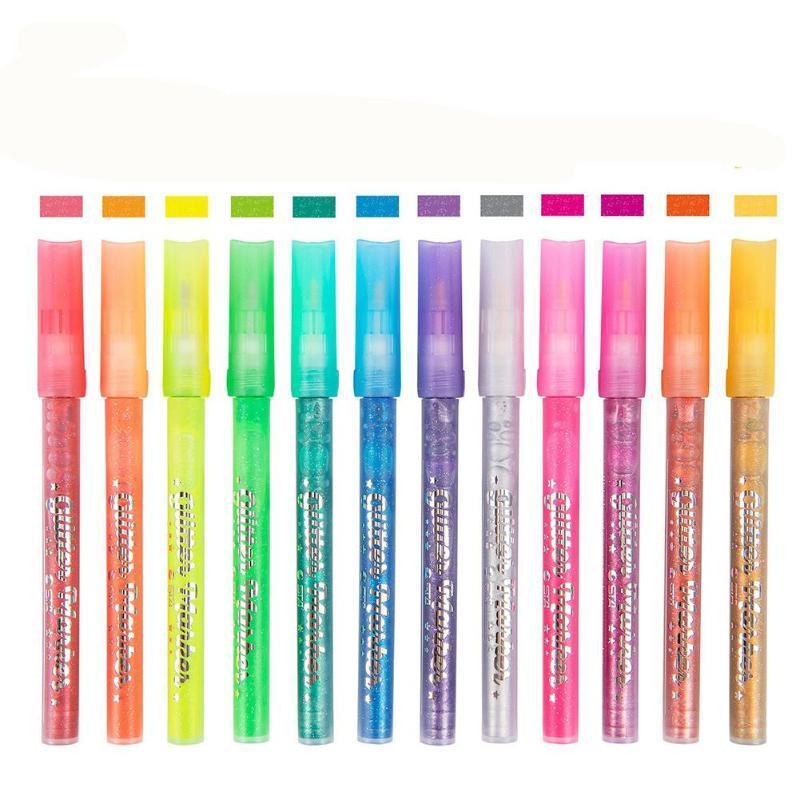Dibujo Art School colores / 12 brillo de los colores del rotulador de tinta microporosa escritura Pigmento resistencia al agua no tóxico R20 Suministros