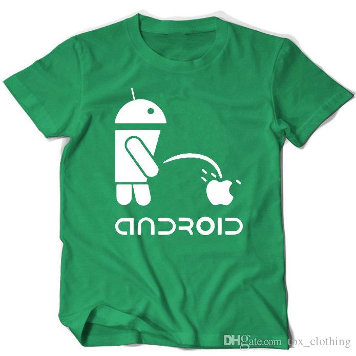 Android t shirt Robot pee apple short sleeve gown tops Funny piss fastness tees Colorfast print clothing Pure color modal tshirt