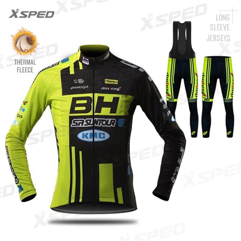 BH Cycling Pro Team manica lunga Jersey Set Bike Abbigliamento Uomo inverno del panno morbido termico Giacca MTB Uniforme Ropa Ciclismo Hombre
