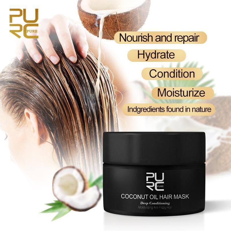 Purc 50ml di cocco maschera per capelli olio in grado di riparare i danni, ripristinare i capelli lisci o tutti i tipi di trattamento della cheratina.