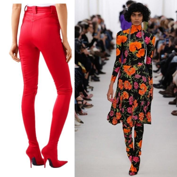 Pantalones Nueva Calzado cargadores largos de las mujeres del calcetín elástico de alta del muslo de la entrepierna Botas punta estrecha satinado mujeres botas de tacones altos de los zapatos largos de la cintura Botas