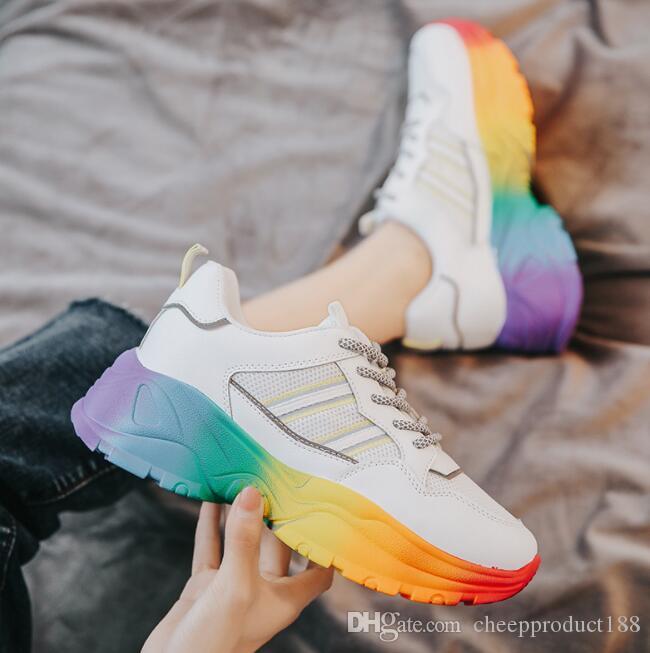 특별가! ! ! 높은 품질의 패션 트렌드 2019 새로운 높은 여성의 신발의 컬러 매칭 와일드 캐주얼 신발 무료 배송 증가 35 ~ 40