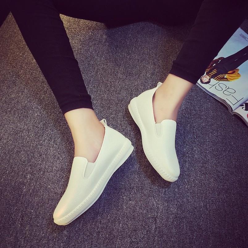 Женщины мода обувь одного женские мягкое скольжение на Flats Shallow педалей гороховой обуви даме случайной дышащая Твердая обувь