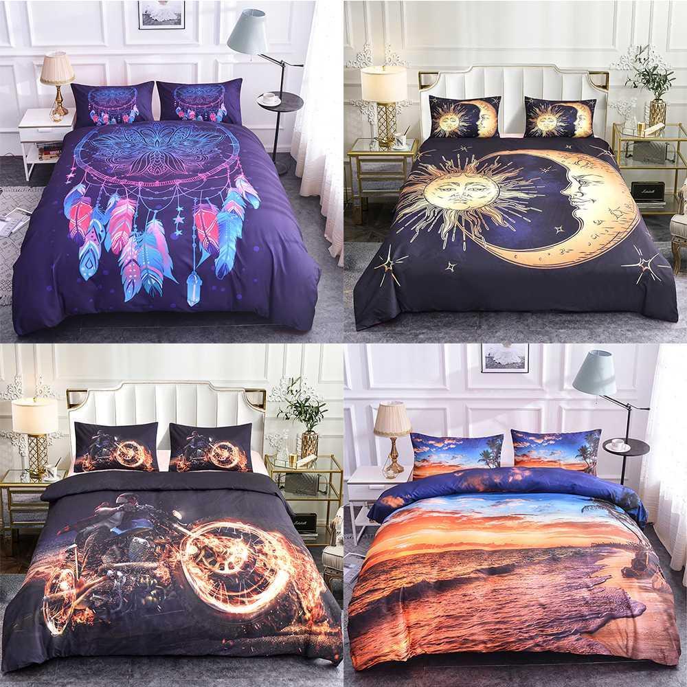 Padrão Homesky Mandala cama Set Bohemia Consolador capa do edredon Floral Paisley tamanho 3D Motorcycle edredon cobrir Set Rei Rainha