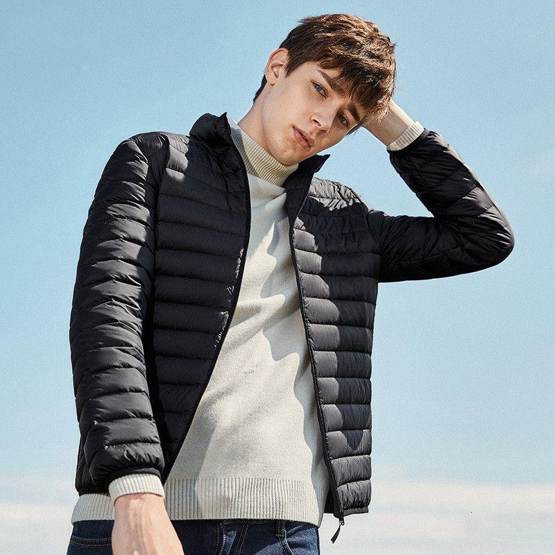 NUEVO 2019 abajo de la chaqueta de los hombres de invierno caliente Portabilidad 90% pato blanco abajo del cuello de la piel con capucha Natural Man Down capa de los hombres impermeables S191019