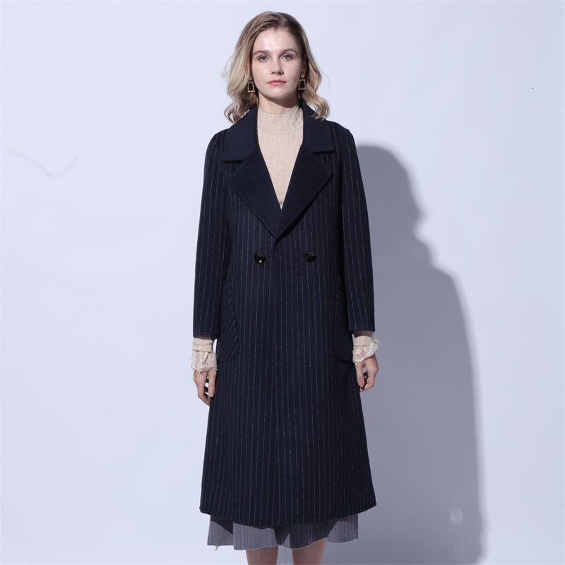 Abrigo de lana floja 2019 de la Mujer Fondo Alargar textura de lana Abrigo Traje de gala de dos caras de la mano de la grieta cachemira