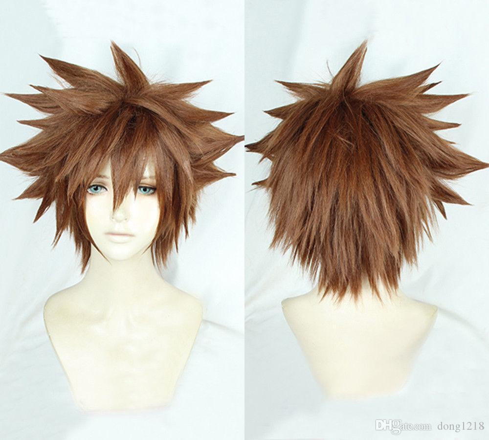 Kingdom Hearts III Sora Perruque courte Afro Brun Pâle Cosplay Cheveux ????? Livraison gratuite