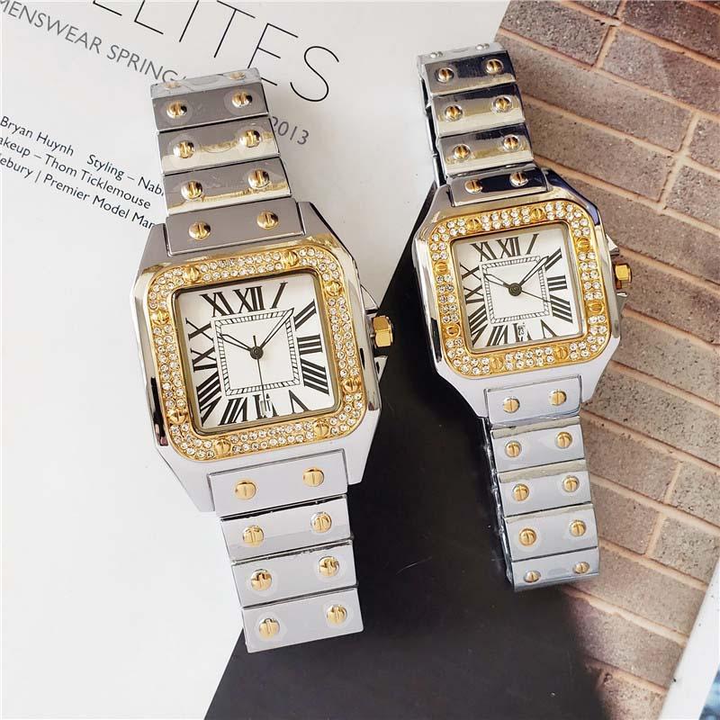 2021 40mm / 33mm Pareja hombres mujeres Diamond Watch Silver / Gold / Rose Gold Strap Roman Num Case Shinning Fecha Relojes de cuarzo