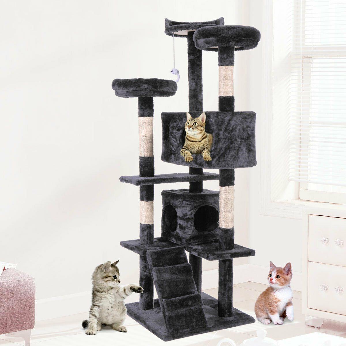 """60 """"القط برج شجرة كوندو الأثاث الخدش المشاركة الحيوانات الأليفة كيتي اللعب البيت الأسود"""