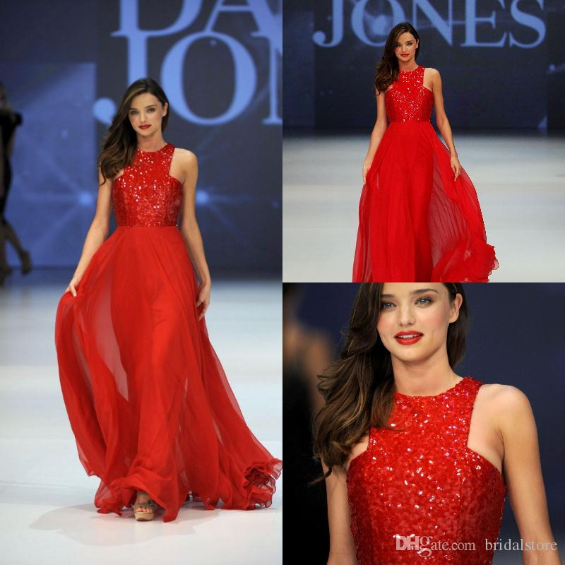 Glitter Red Prom Dresses A Line Top Sequined Sleeveless Full Length Chiffon Celebrity Pageant Gowns 2019 Cheap dresses evening wear long