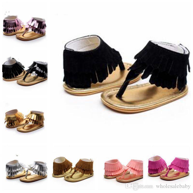 Bebek Payetler Püsküller Sandalet Çocuk Makosenler Yumuşak Sole Ayakkabı PU Deri Birinci Walker Yenidoğan Mat Doku Ayakkabı Bebek Ayakkabı EZYQ173 Ayakkabı