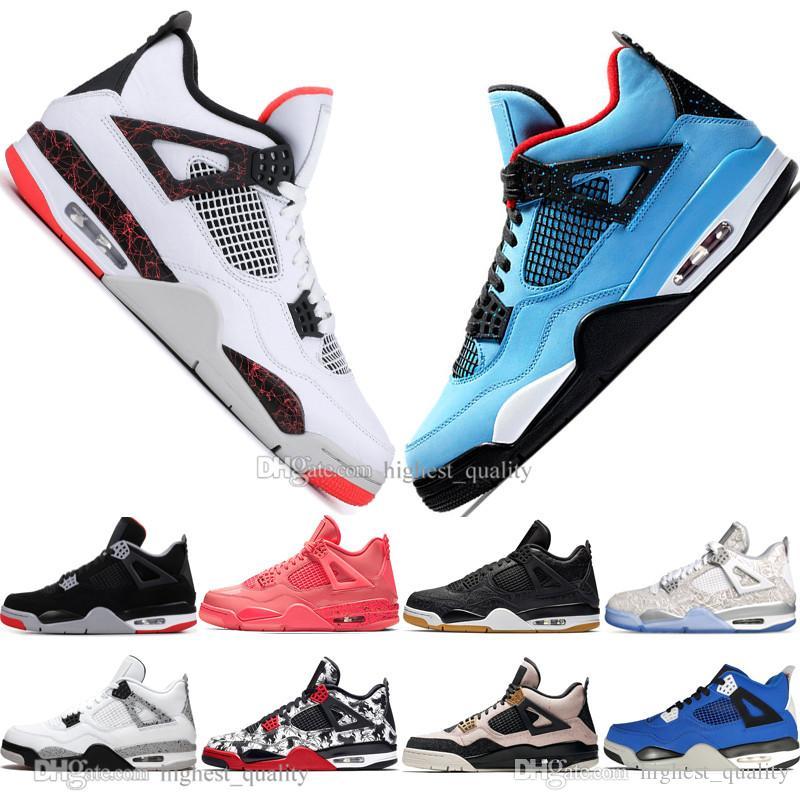Venda 2019 Mais recente Bred 4 4s What The Cactus Jack Asas Laser Mens tênis de basquete Denim Azul pálido Citron Homens Sports Sneakers 5,5-13