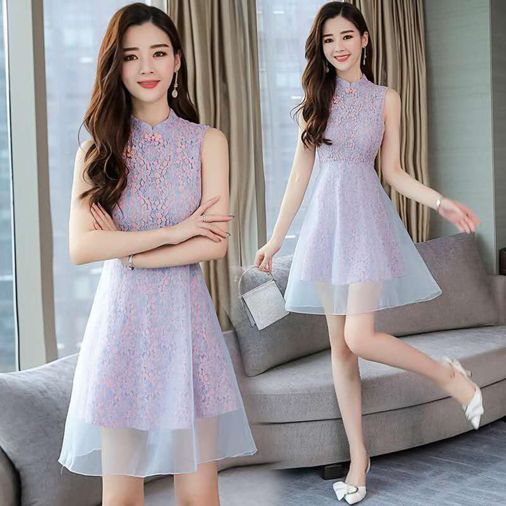 Vestido Retro Cheongsam Vestido New Lace de Verão New Mulheres
